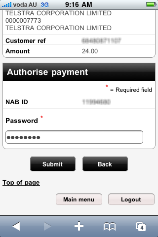 NAB Online Iphone Banking