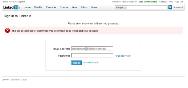 Linkedin error message