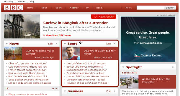 BBC Homepage On Hover