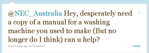 Original Tweet sent to NEC Australia from Alastair Simpson
