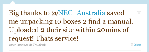 NEC Australia got some free PR out of providing excellent customer service