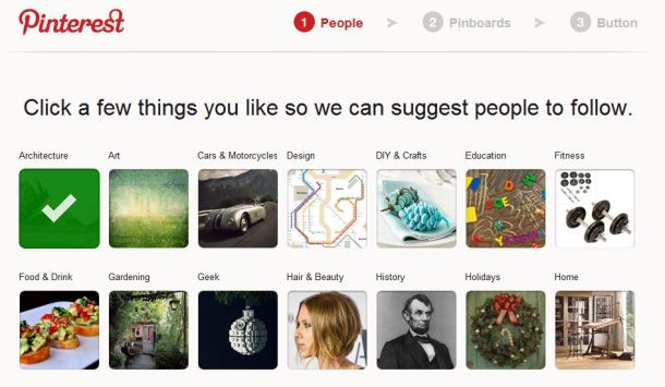 Pinterest gives large visual feedback