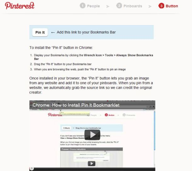 Pinterest bookmarklet explanation